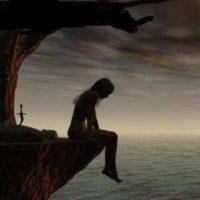 mujer sola, abatida y triste